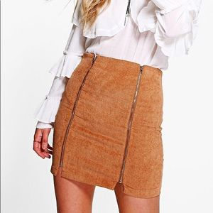 Double Zip Mini Skirt In Tan